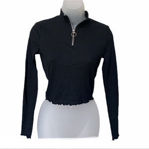 Cotton:On Black Zipper Front Ribbed Top Size XS